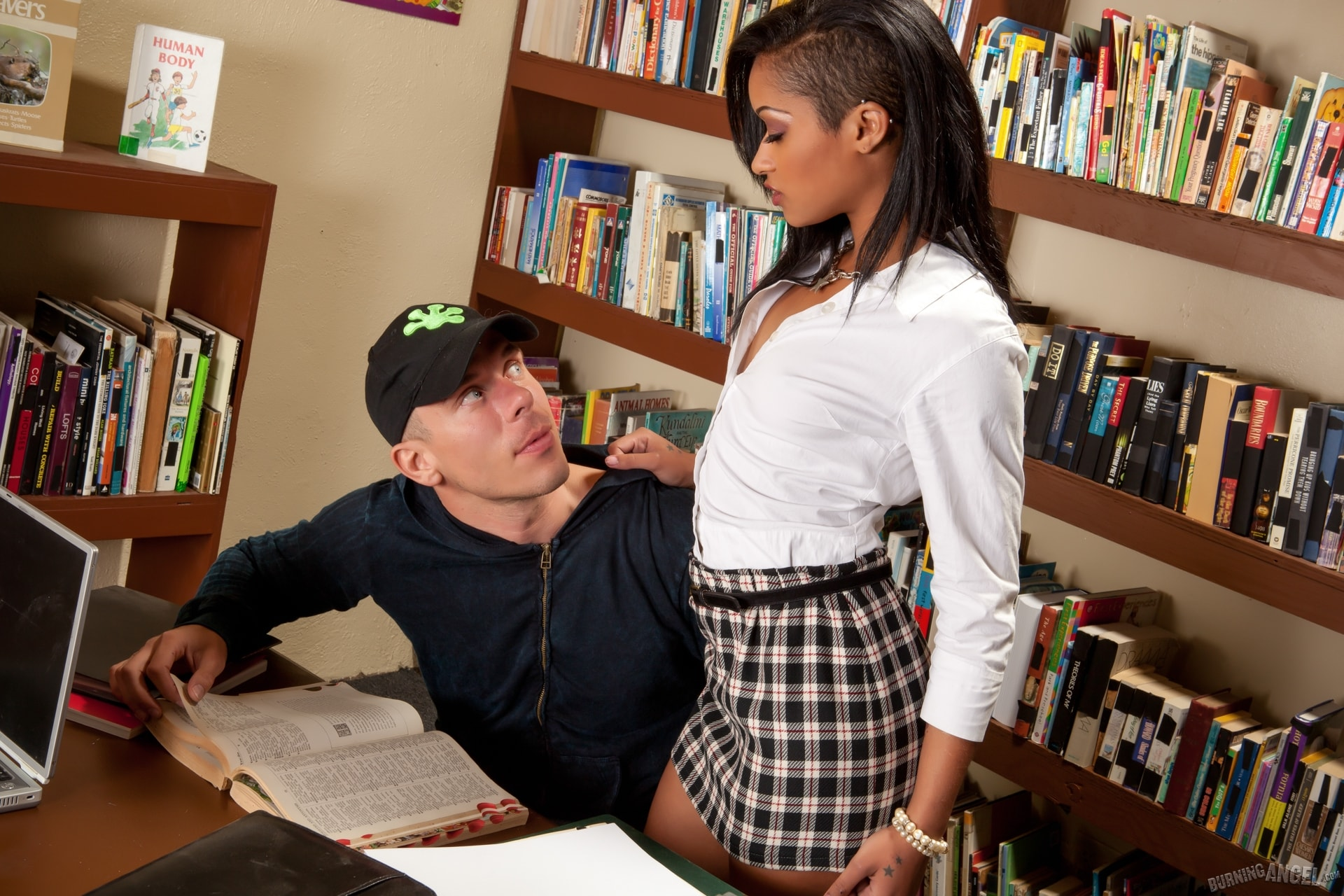 Burning Angel 'Skin Has Sex In A Library' starring Skin Diamond (Photo 1)